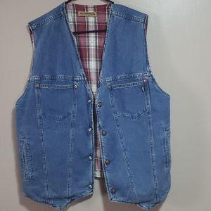 Levi's Mens Reversible Jean Flannel Vest Sz M